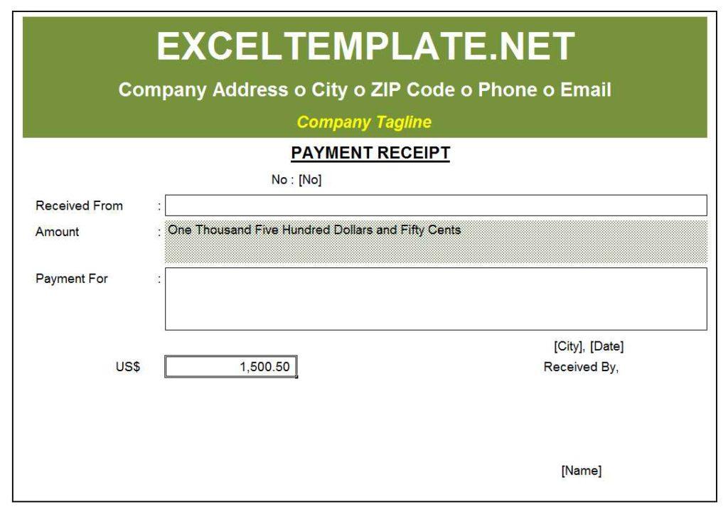 Payment Receipt Template Model 1