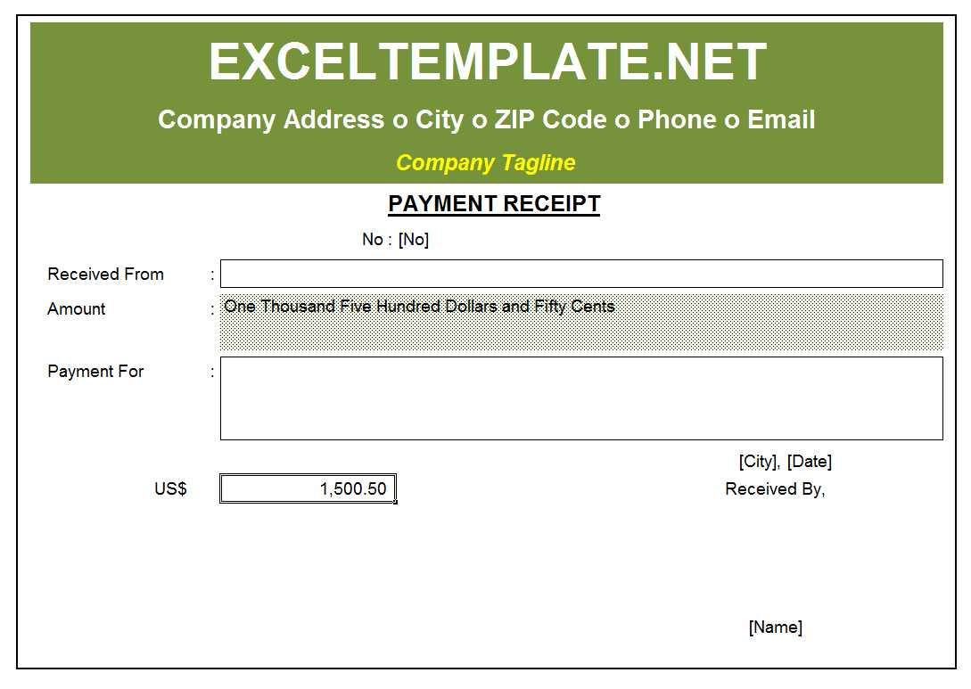 Receipt Excel Template
