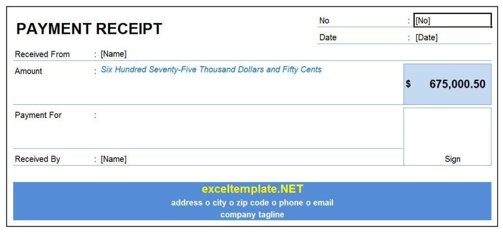 Payment Receipt Template Model 3