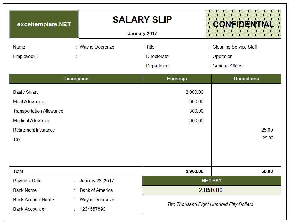 Salary Slip Template  Payslip Format In Excel Free Download