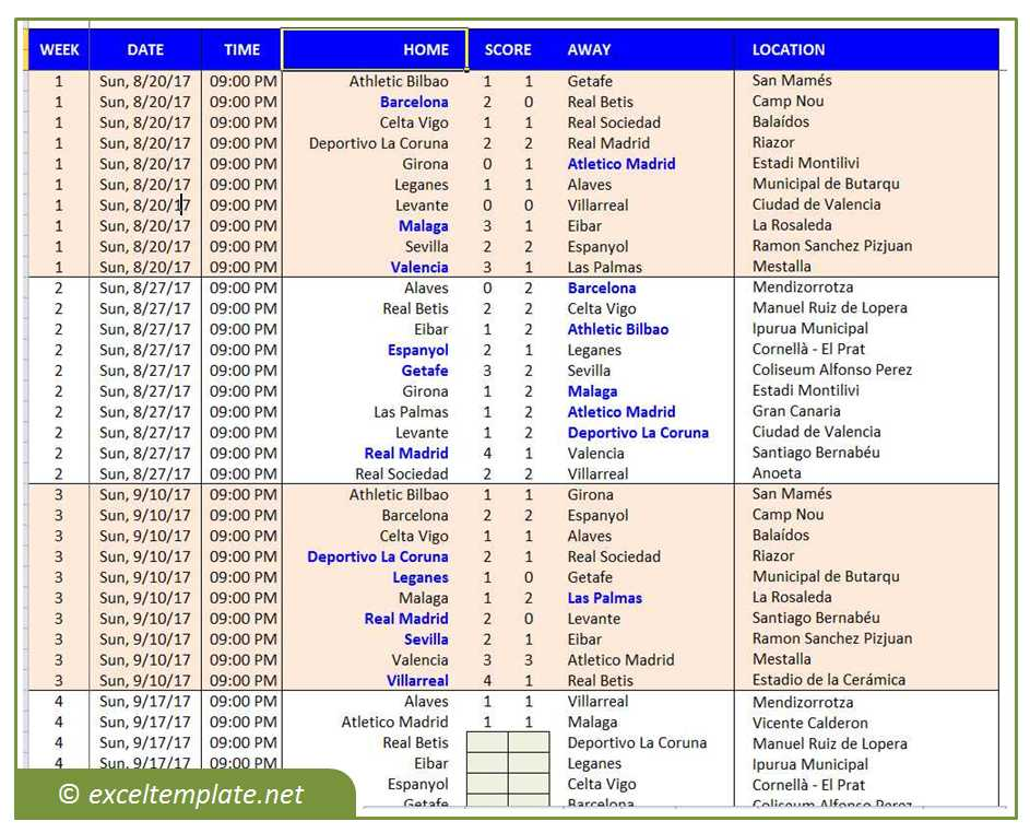 European Football League Fixtures