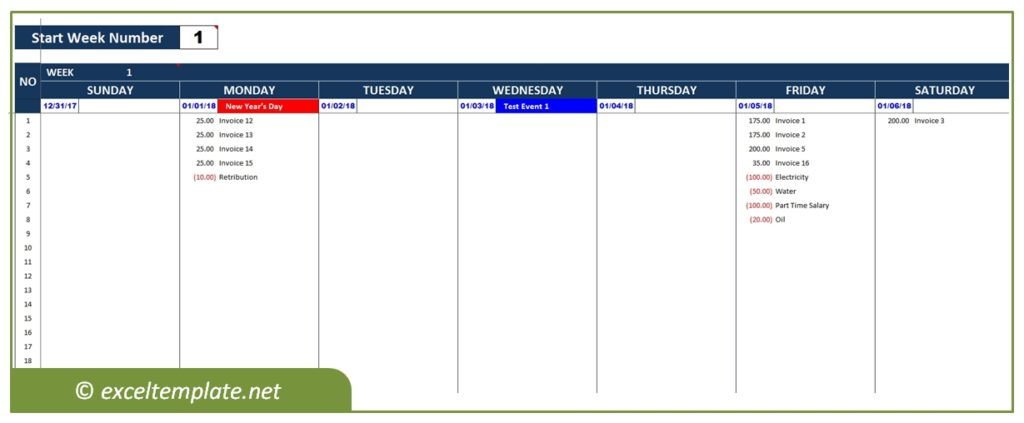 Company Cash Flow Planner - Weekly View